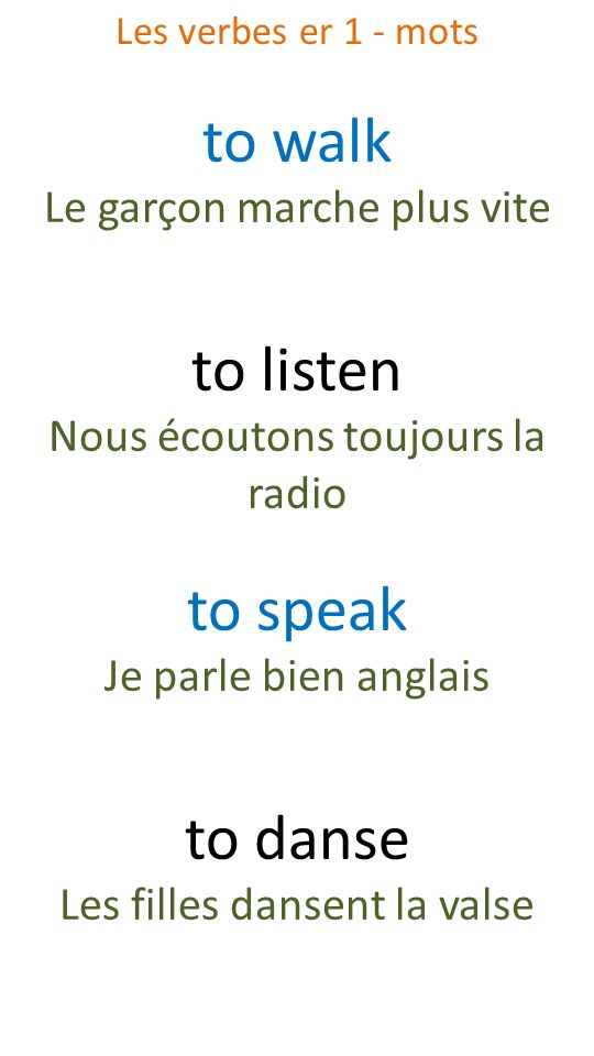 to walk to listen to speak to danse Le garçon marche plus vite
