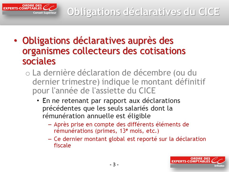 Obligations déclaratives du CICE