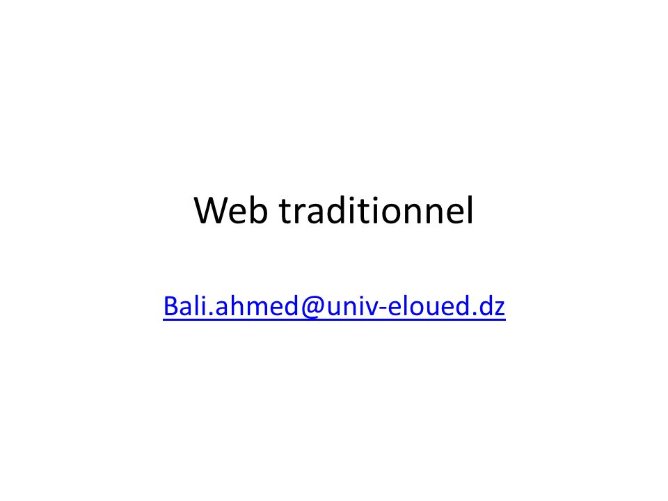 Web traditionnel