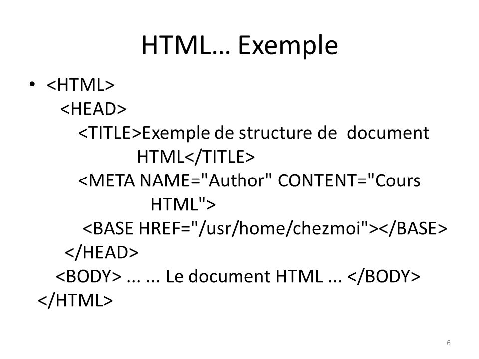 HTML… Exemple <HTML> <HEAD>