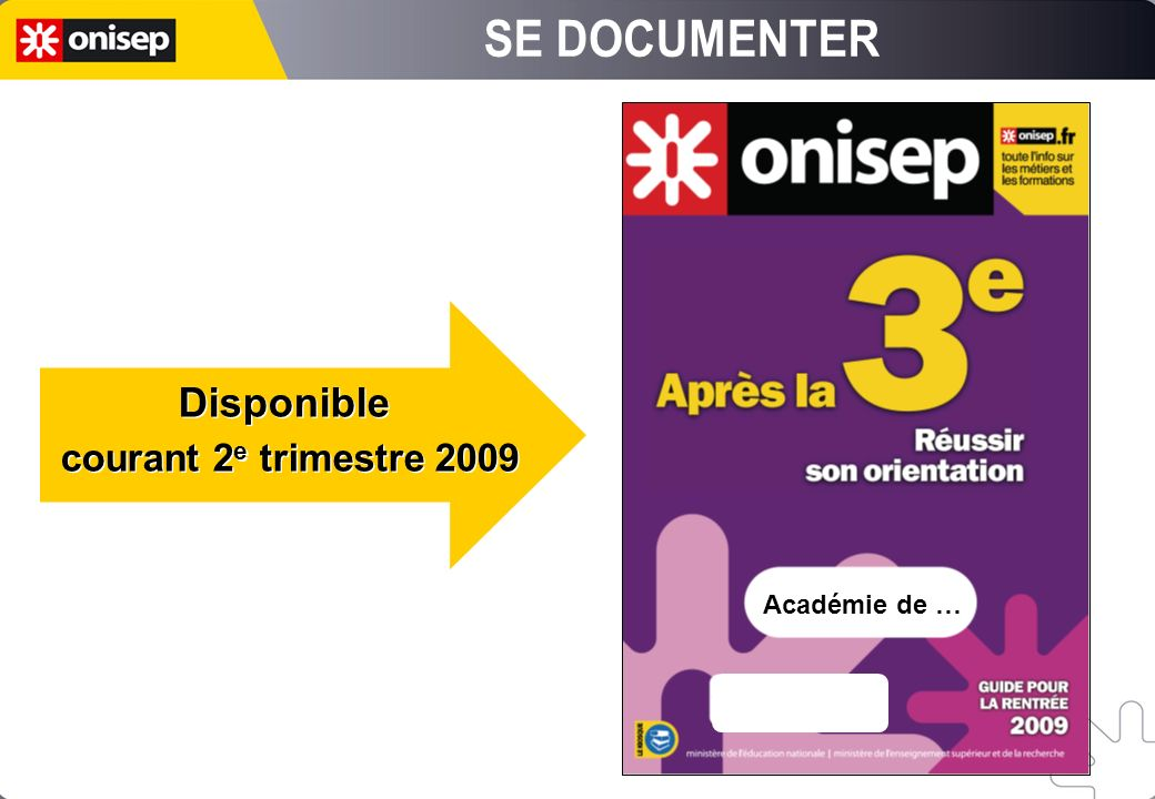 SE DOCUMENTER Disponible courant 2e trimestre 2009 Académie de …