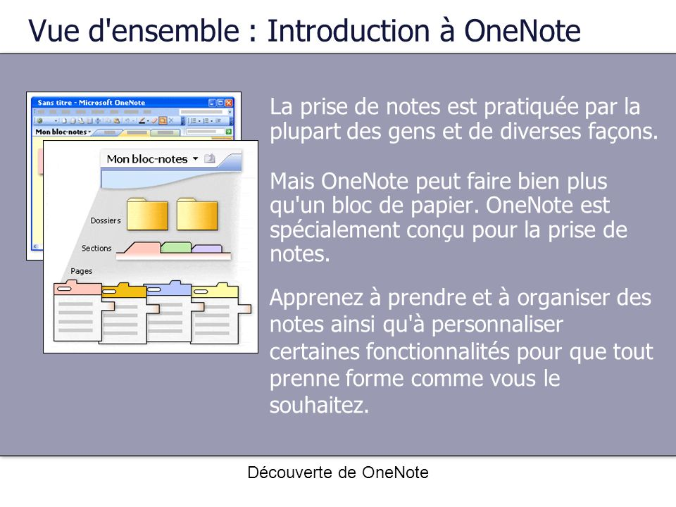 Vue d ensemble : Introduction à OneNote