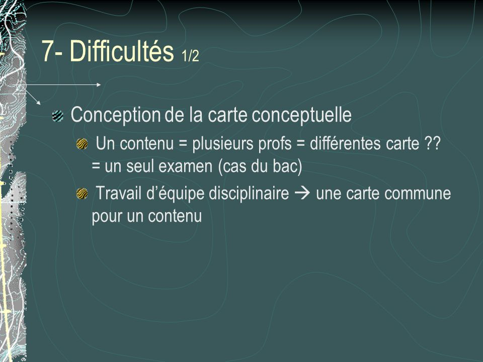 7- Difficultés 1/2 Conception de la carte conceptuelle