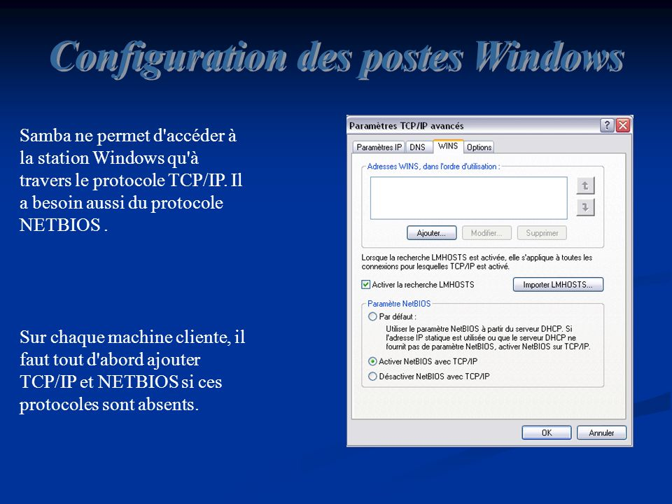 Configuration des postes Windows