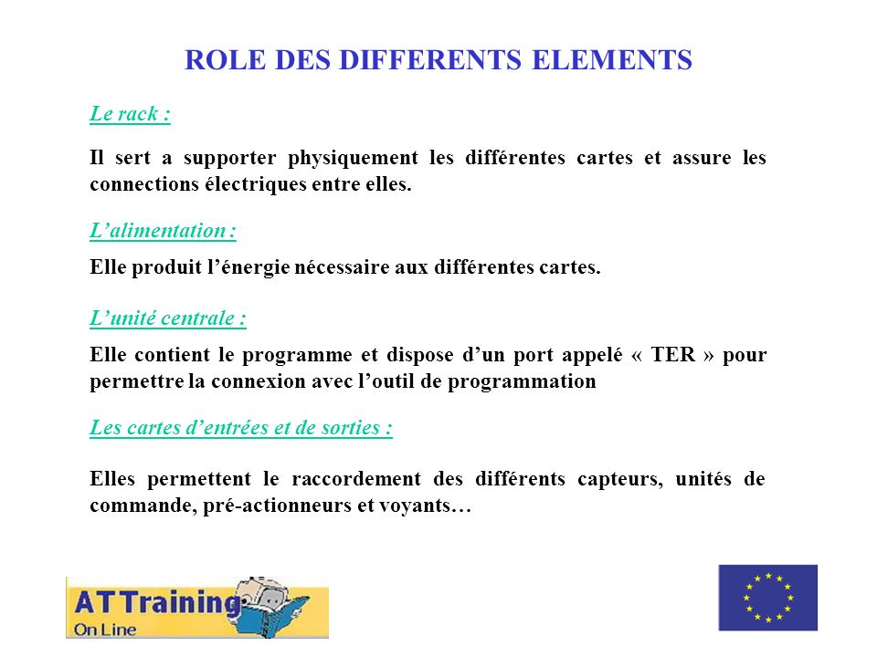 ROLE DES DIFFERENTS ELEMENTS