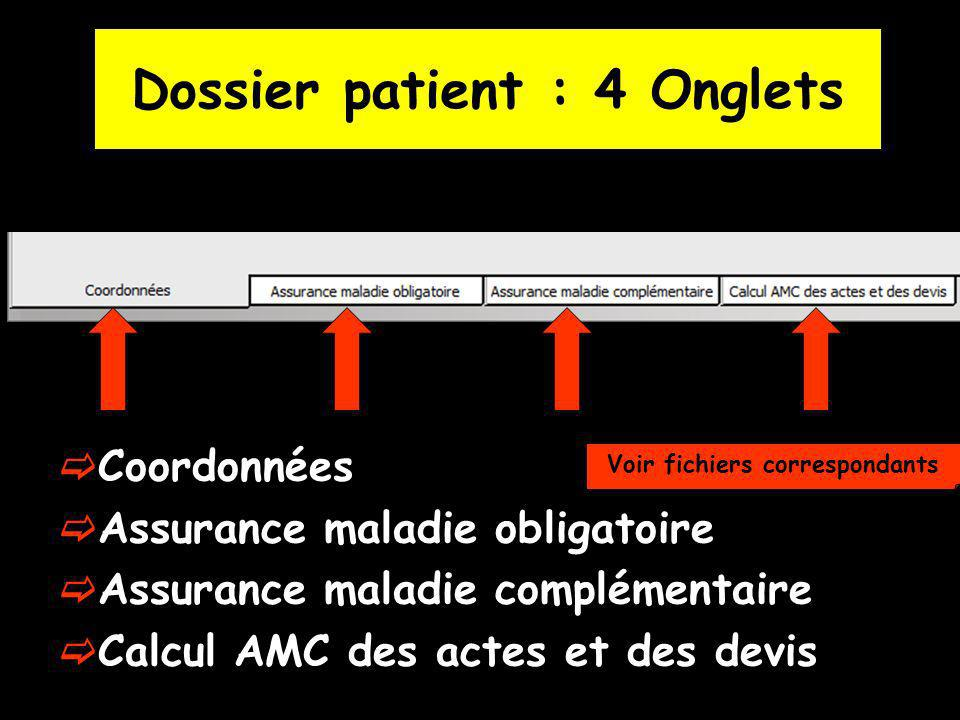 Dossier patient : 4 Onglets