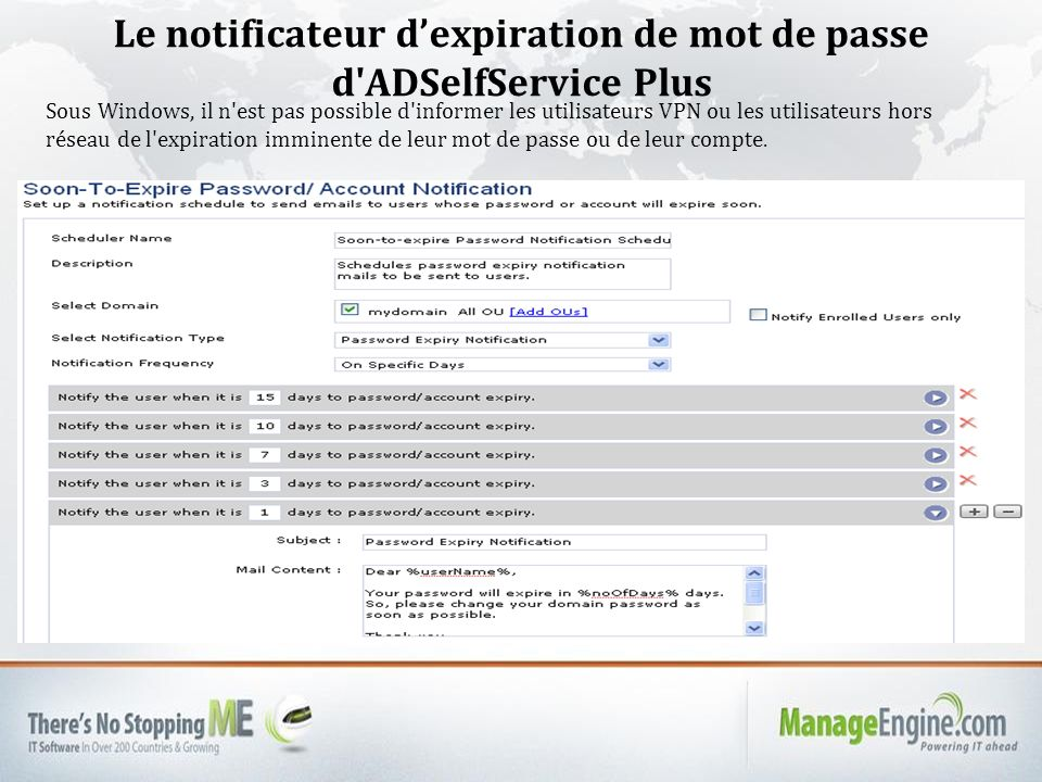 Le notificateur d'expiration de mot de passe d ADSelfService Plus