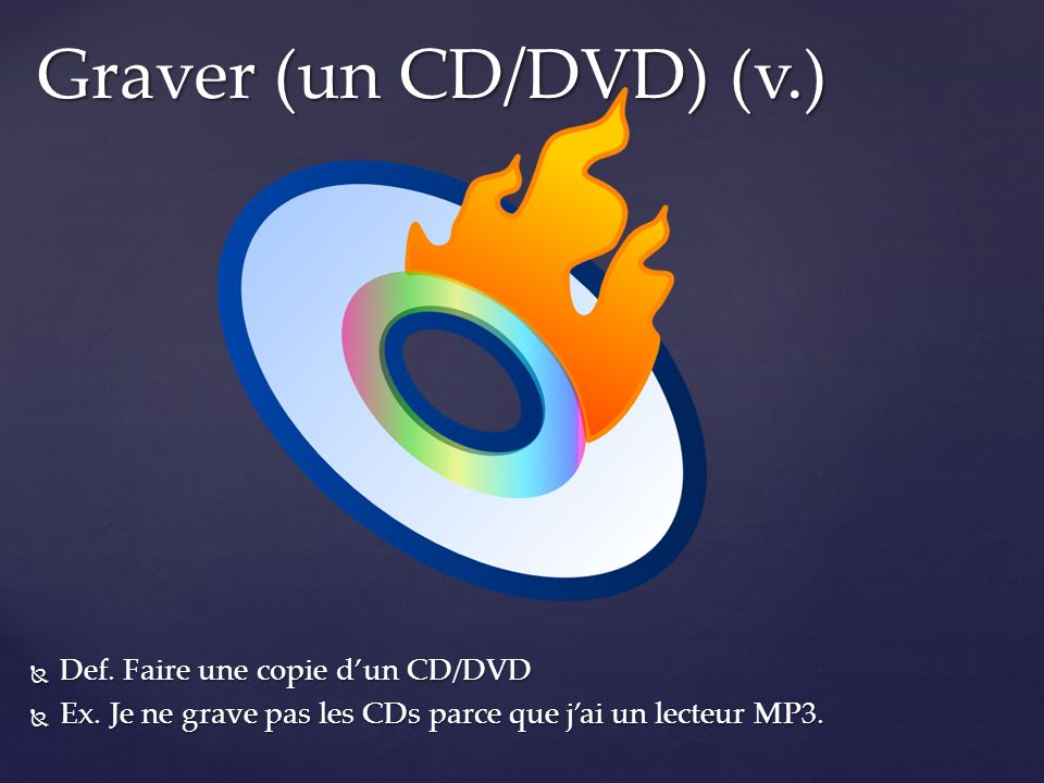 Graver (un CD/DVD) (v.) Def. Faire une copie d'un CD/DVD
