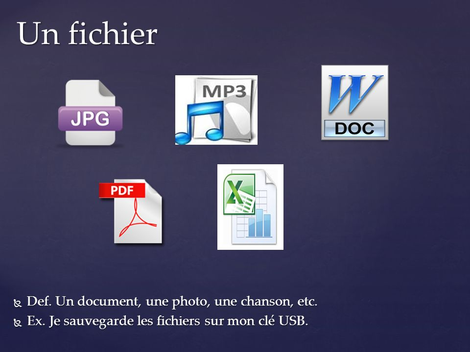 Un fichier Def. Un document, une photo, une chanson, etc.