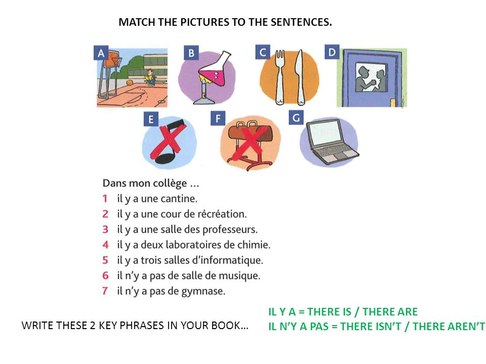 MATCH THE PICTURES TO THE SENTENCES.