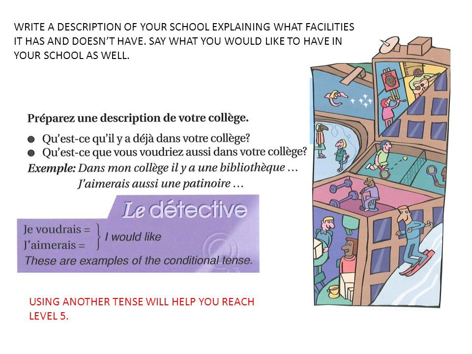 WRITE A DESCRIPTION OF YOUR SCHOOL EXPLAINING WHAT FACILITIES IT HAS AND DOESN'T HAVE. SAY WHAT YOU WOULD LIKE TO HAVE IN YOUR SCHOOL AS WELL.