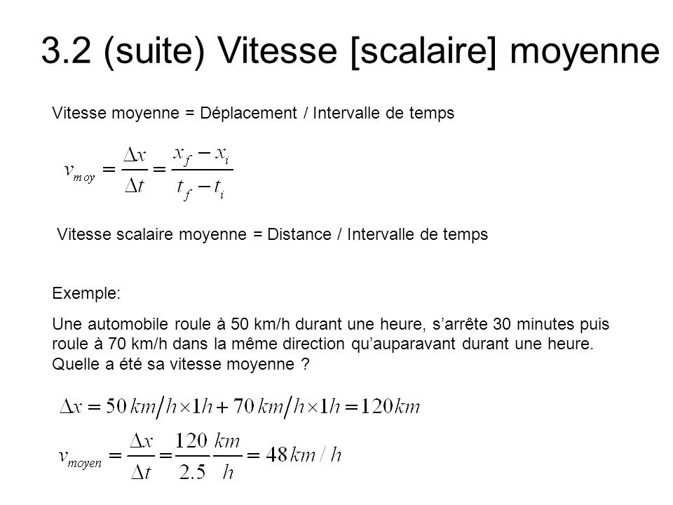 3.2 (suite) Vitesse [scalaire] moyenne
