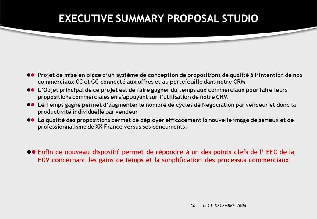 EXECUTIVE SUMMARY PROPOSAL STUDIO