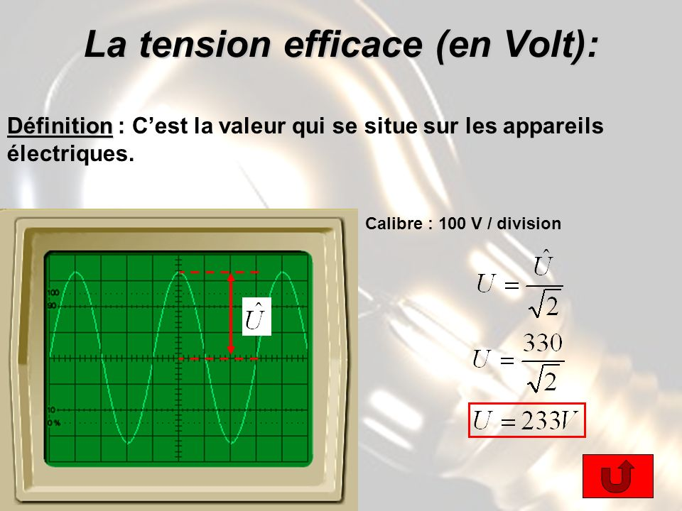 La tension efficace (en Volt):