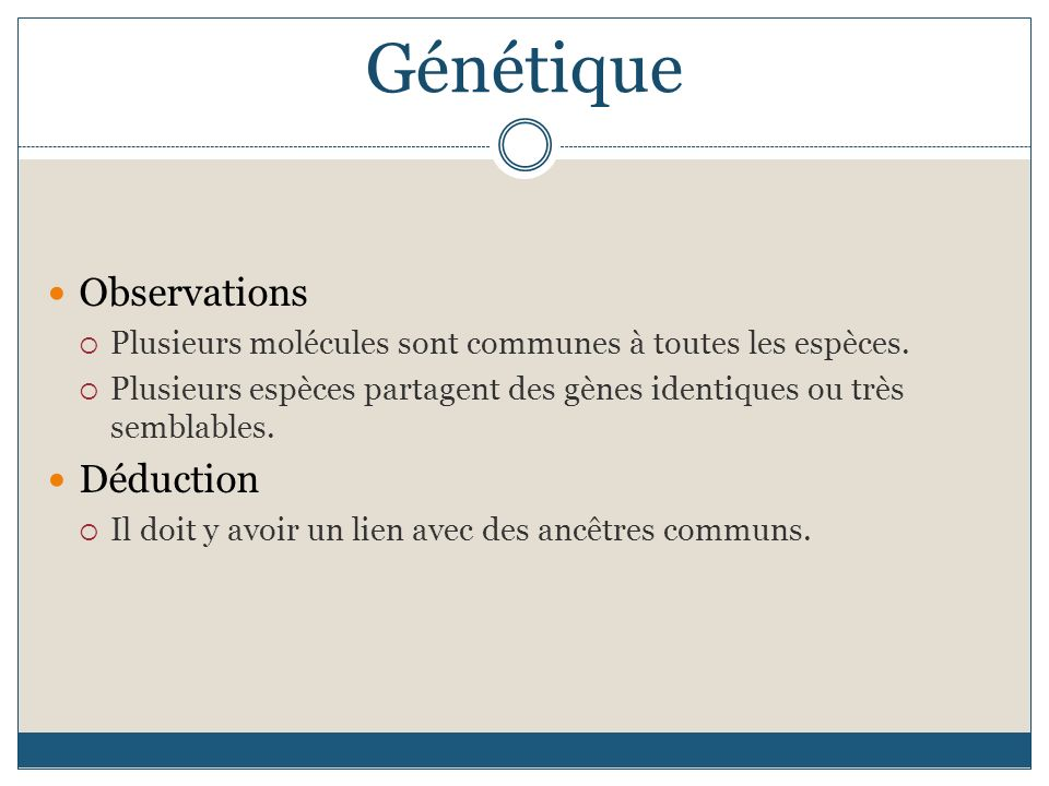 Génétique Observations Déduction