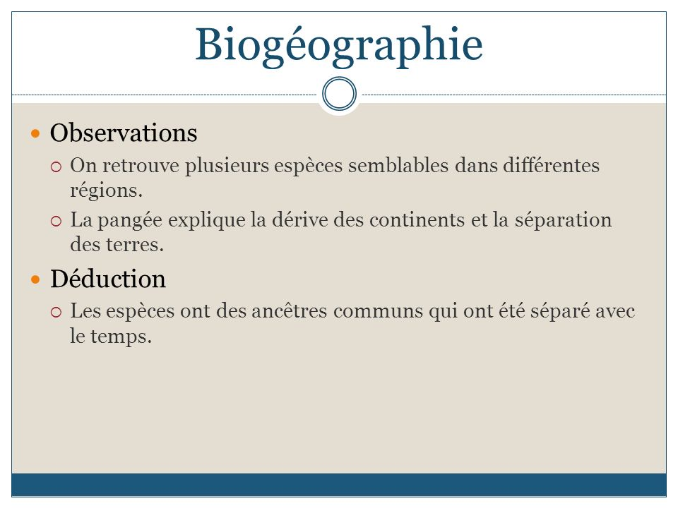 Biogéographie Observations Déduction