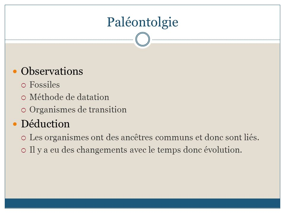 Paléontolgie Observations Déduction Fossiles Méthode de datation
