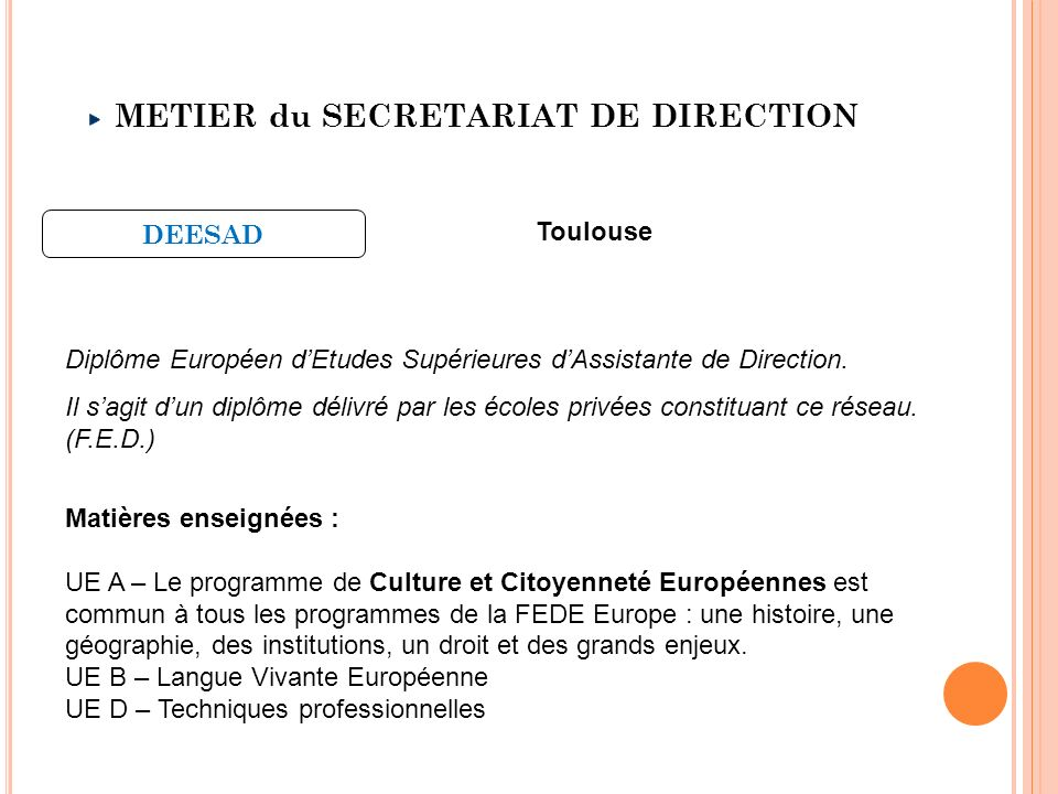 METIER du SECRETARIAT DE DIRECTION