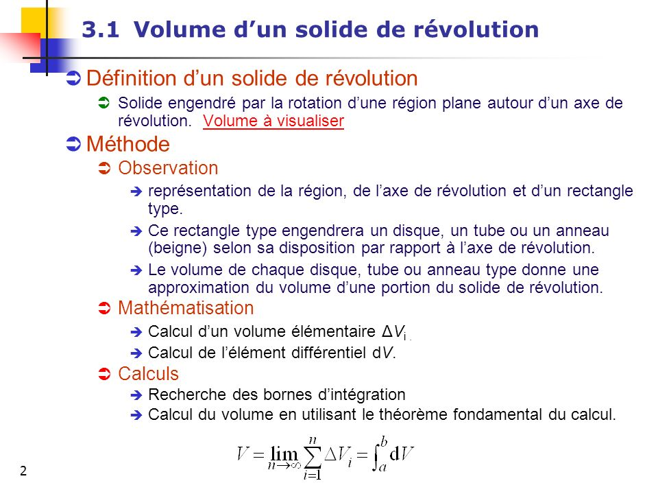 3.1 Volume d'un solide de révolution