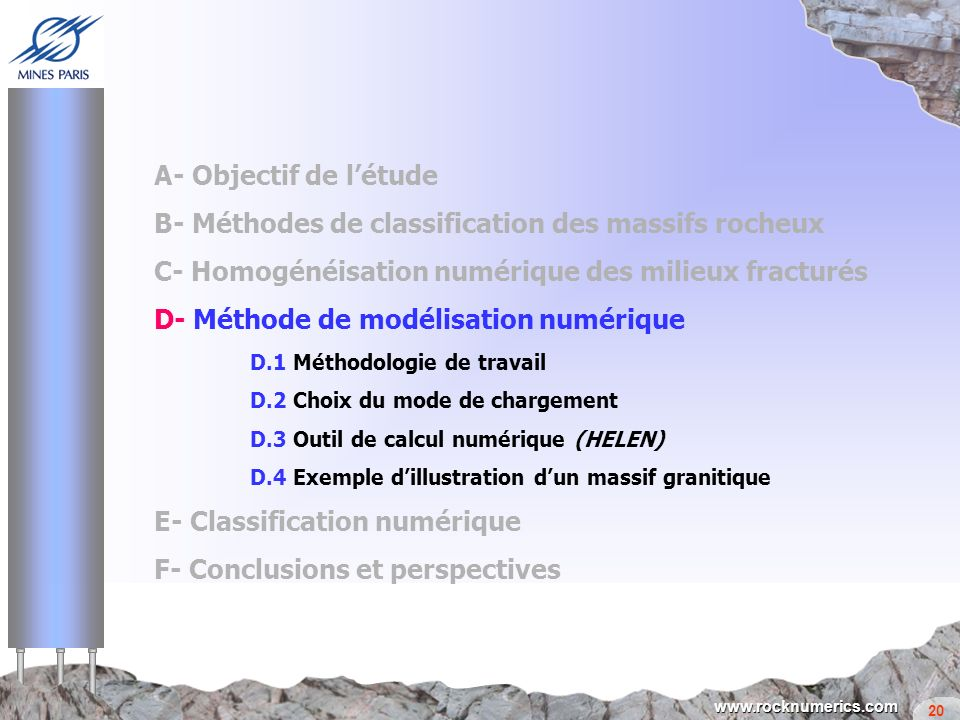 B- Méthodes de classification des massifs rocheux