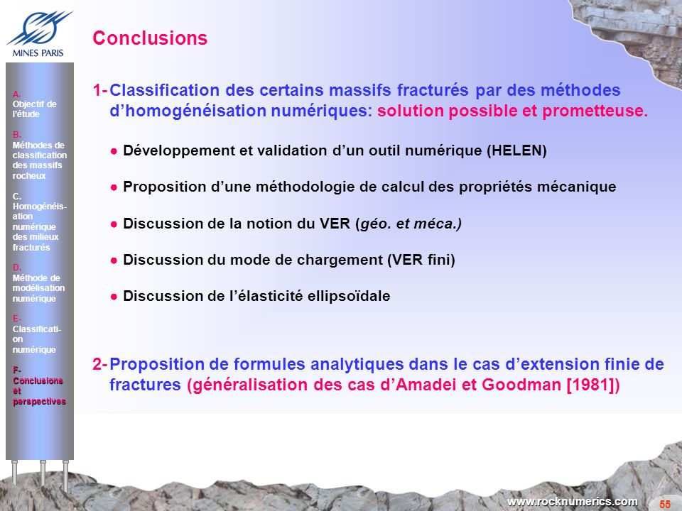 Conclusions 1- Classification des certains massifs fracturés par des méthodes d'homogénéisation numériques: solution possible et prometteuse.