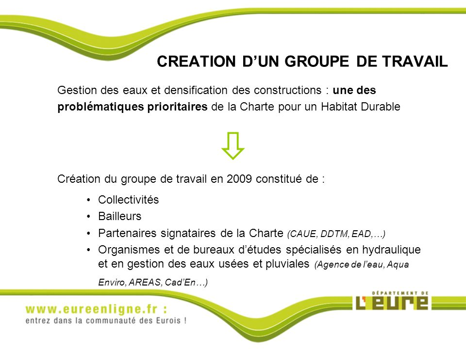 CREATION D'UN GROUPE DE TRAVAIL