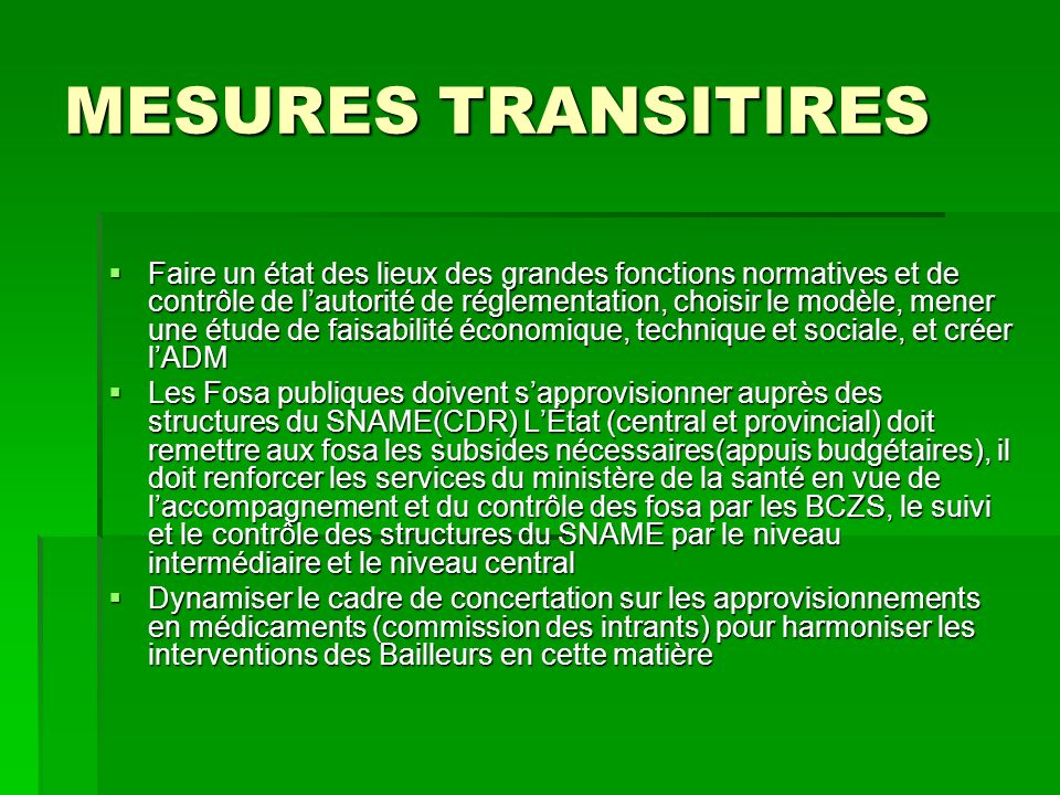 MESURES TRANSITIRES