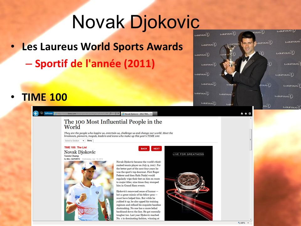 Novak Djokovic Les Laureus World Sports Awards