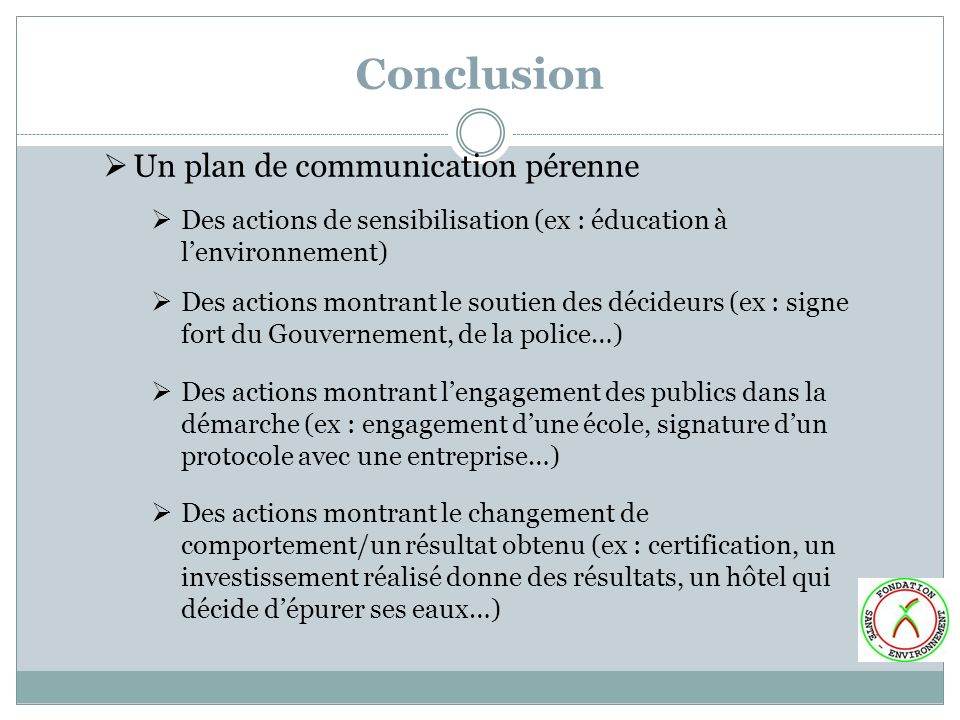 Conclusion Un plan de communication pérenne
