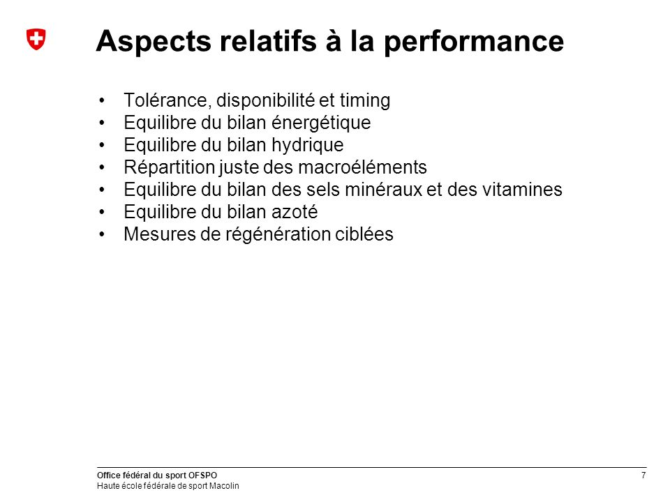 Aspects relatifs à la performance