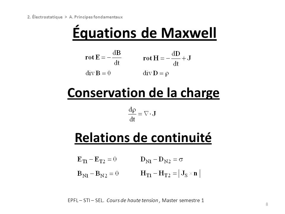 Conservation de la charge Relations de continuité