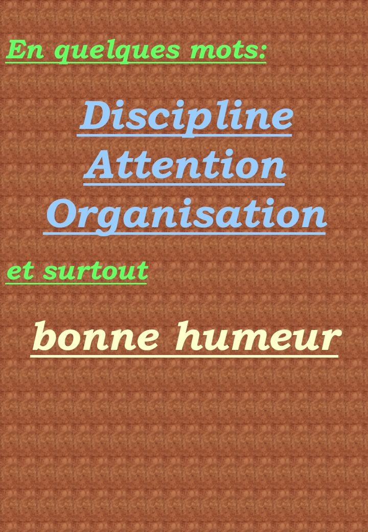 Discipline Attention Organisation