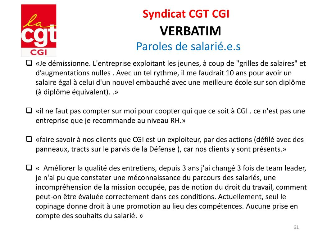 Syndicat Cgt Cgi Enquete Nao Ppt Telecharger