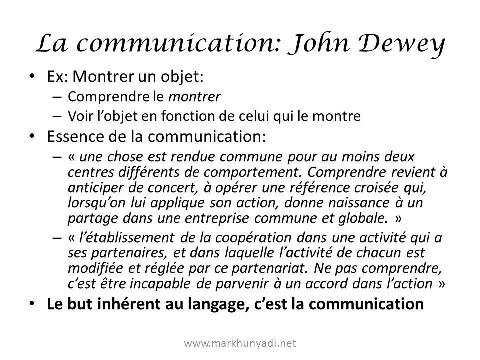 La communication: John Dewey
