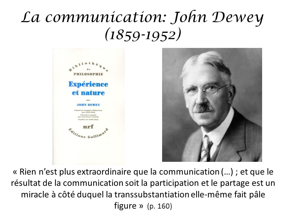 La communication: John Dewey ( )