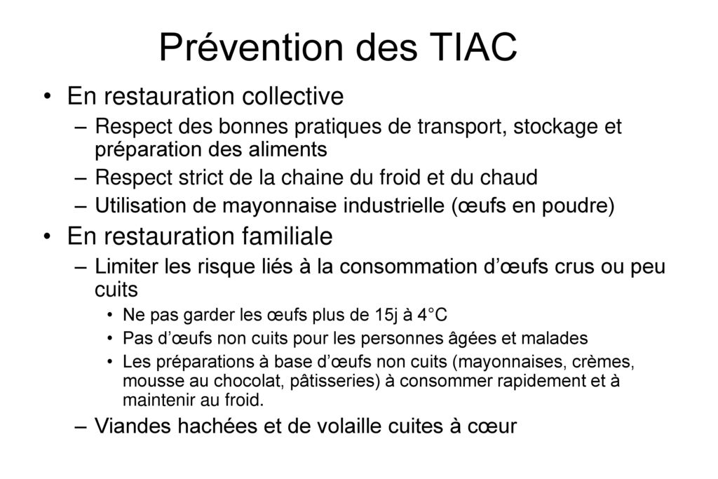 Prévention des TIAC En restauration collective
