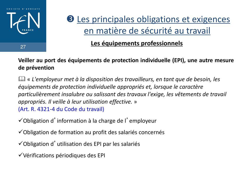 Code Du Travail Obligation Employeur