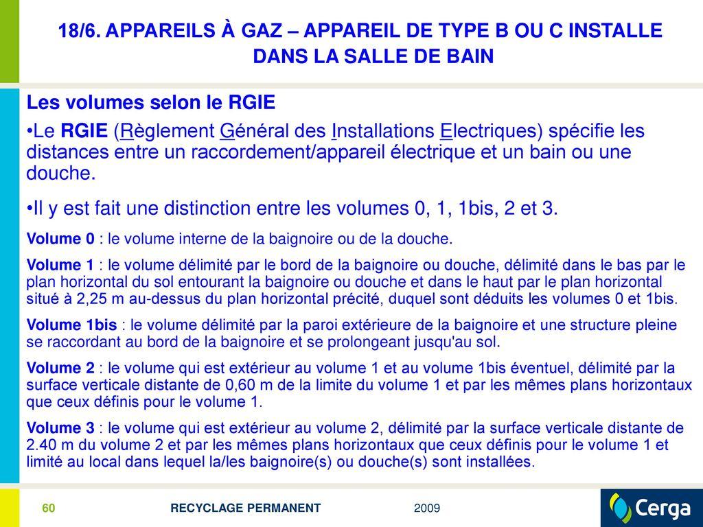 Rgie Zone Salle De Bain ~ recyclage permanent 2009 pour les installateurs gaz professionnels