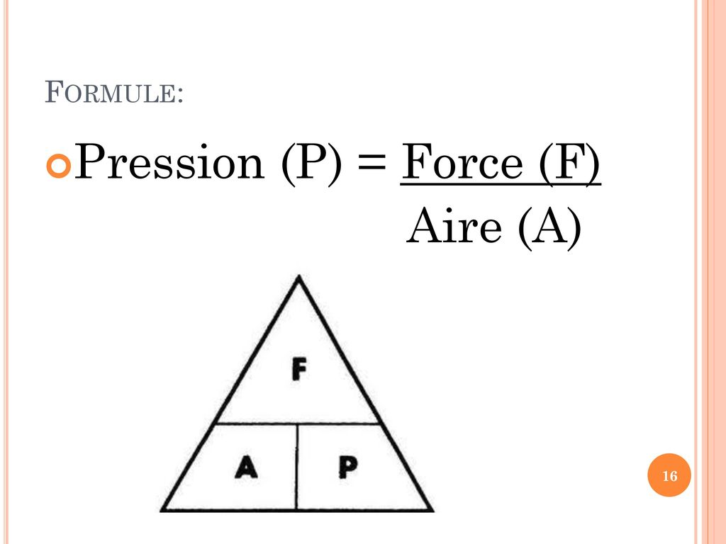 Pression (P) = Force (F) Aire (A)