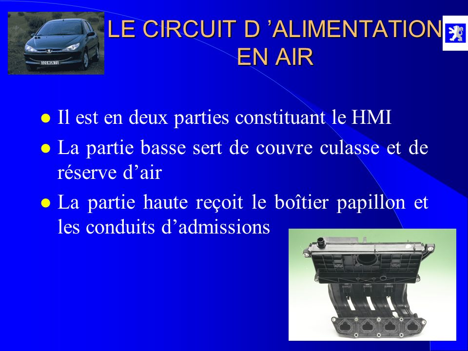 LE CIRCUIT D 'ALIMENTATION EN AIR