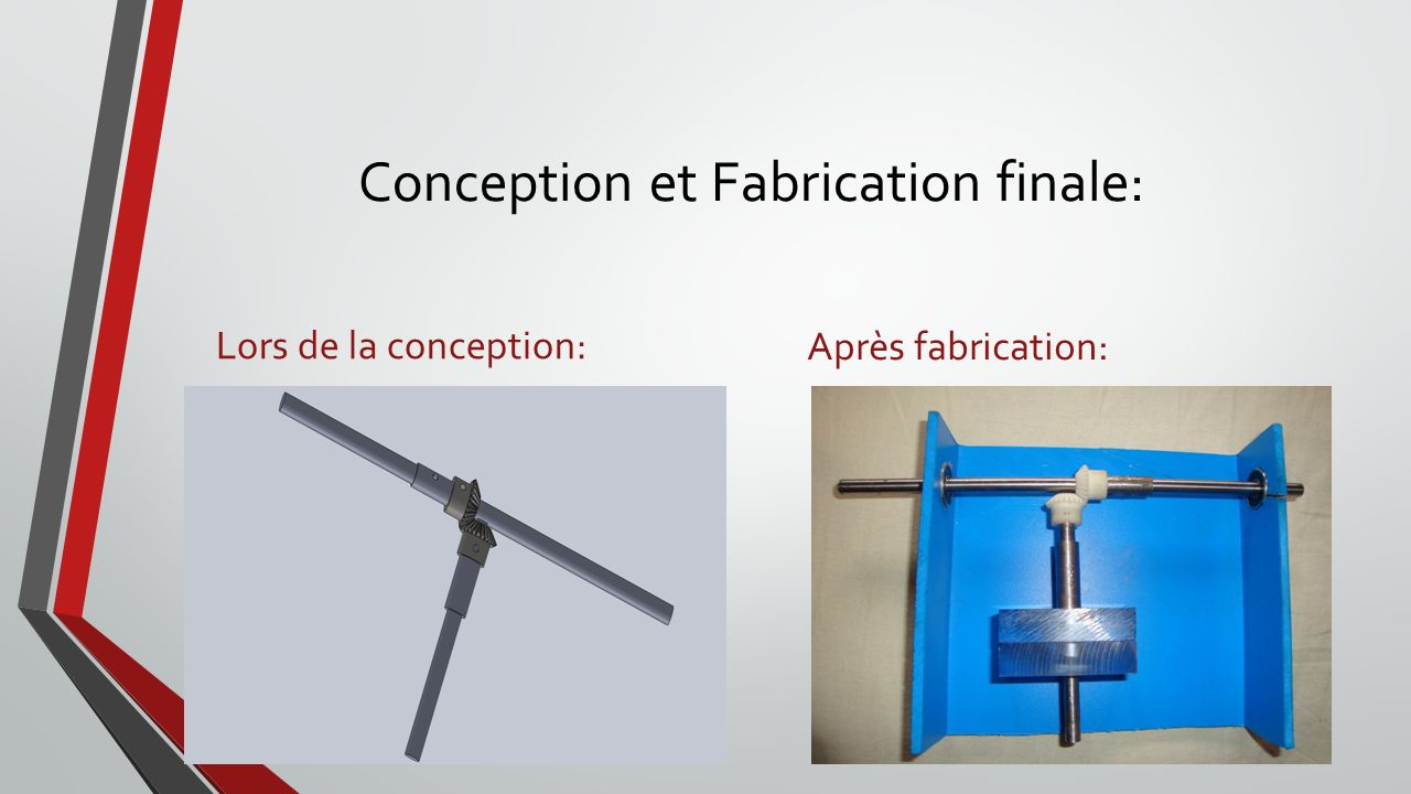 Conception et Fabrication finale: