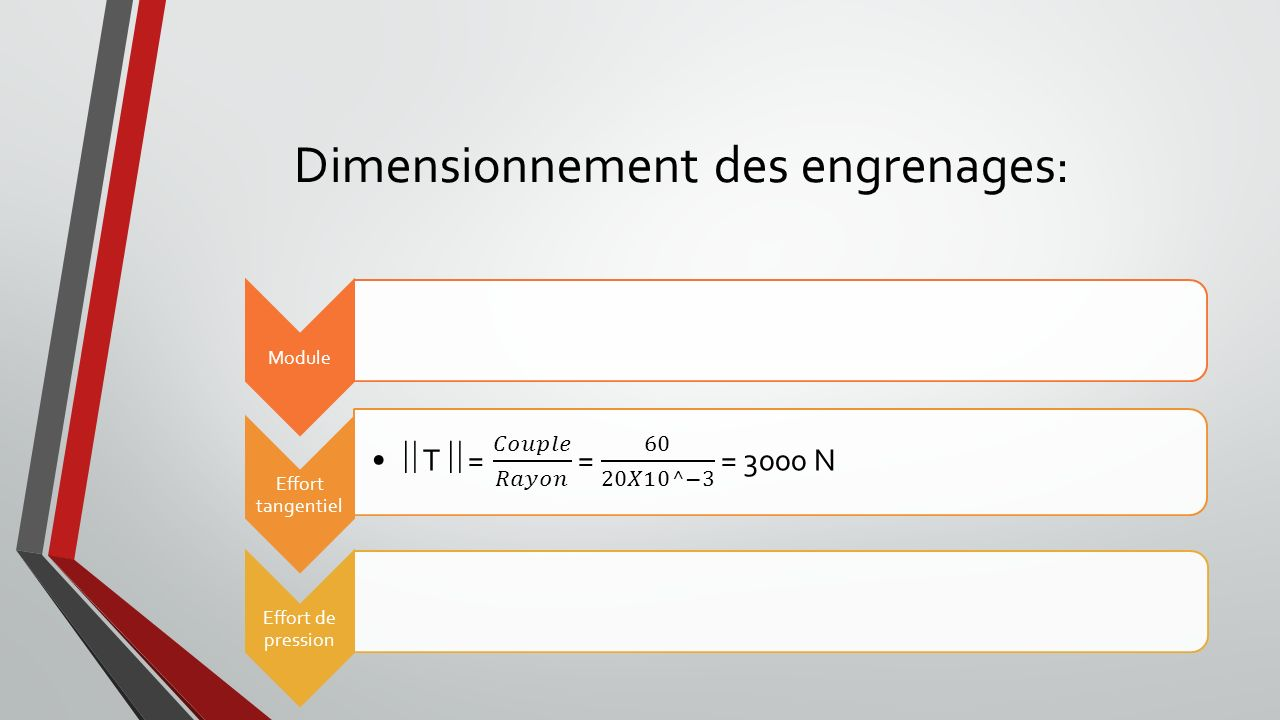 Dimensionnement des engrenages: