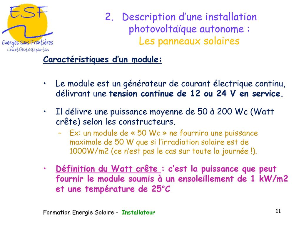 Puissance Panneau Photovoltaique pour module de formation à la gestion du photovoltaïque - ppt télécharger