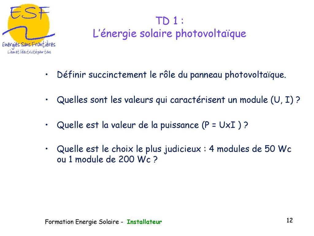 Puissance Panneau Photovoltaique en ce qui concerne module de formation à la gestion du photovoltaïque - ppt télécharger