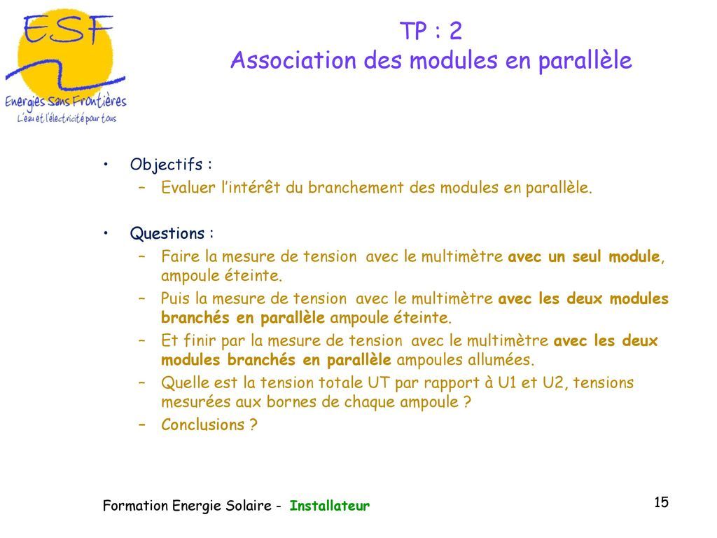 TP : 2 Association des modules en parallèle