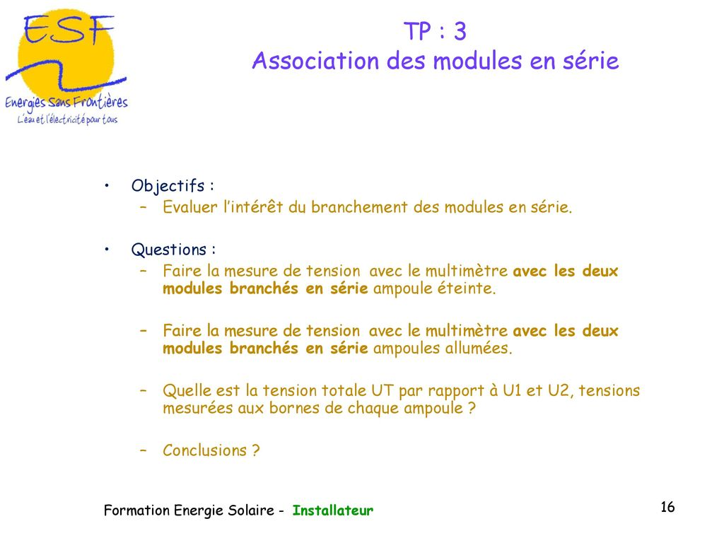 TP : 3 Association des modules en série