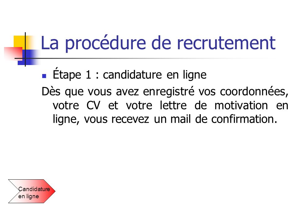 la proc u00e9dure de recrutement