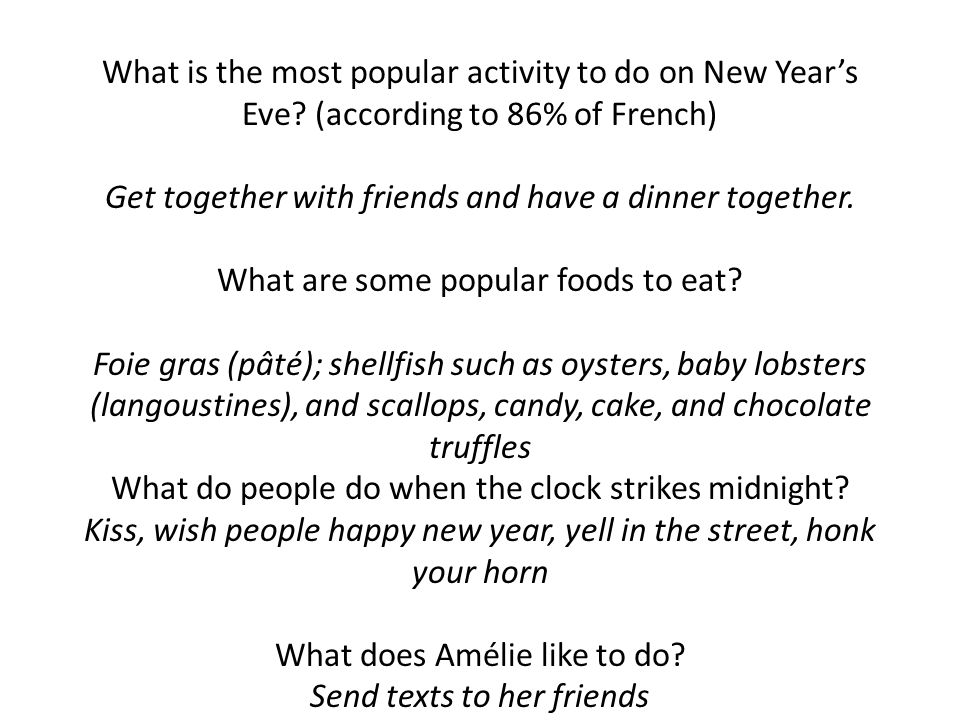 What is the most popular activity to do on New Year's Eve