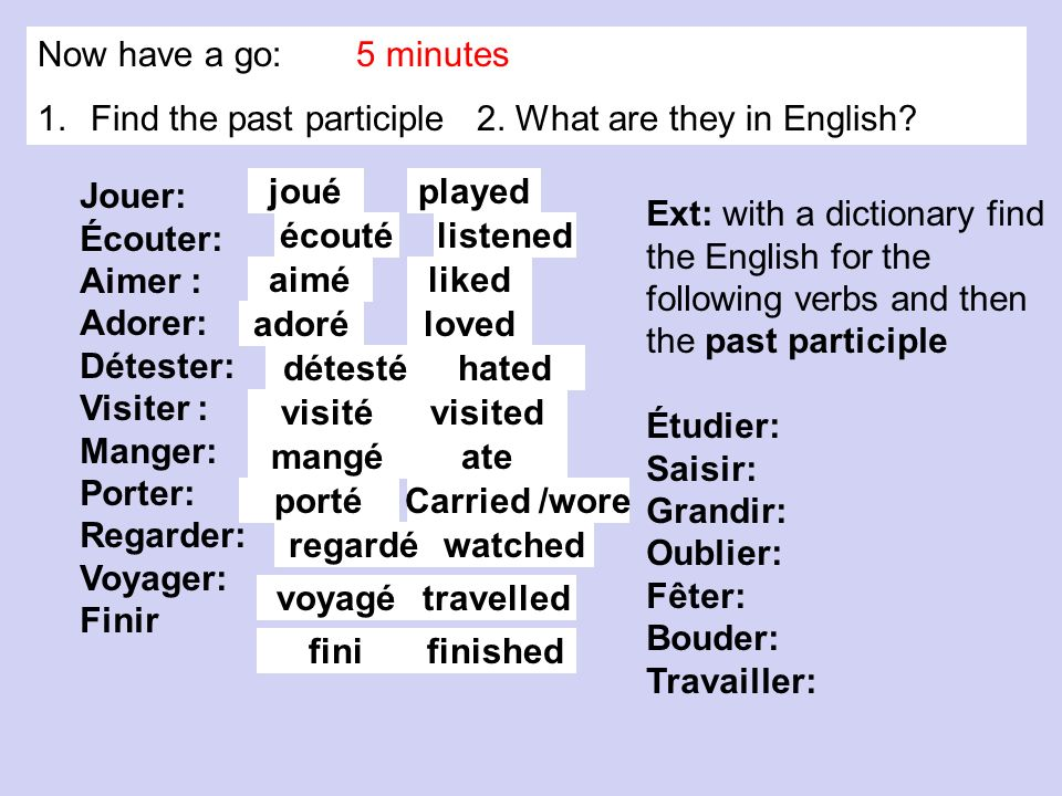 Now have a go: 5 minutes Find the past participle 2. What are they in English Jouer: Écouter: