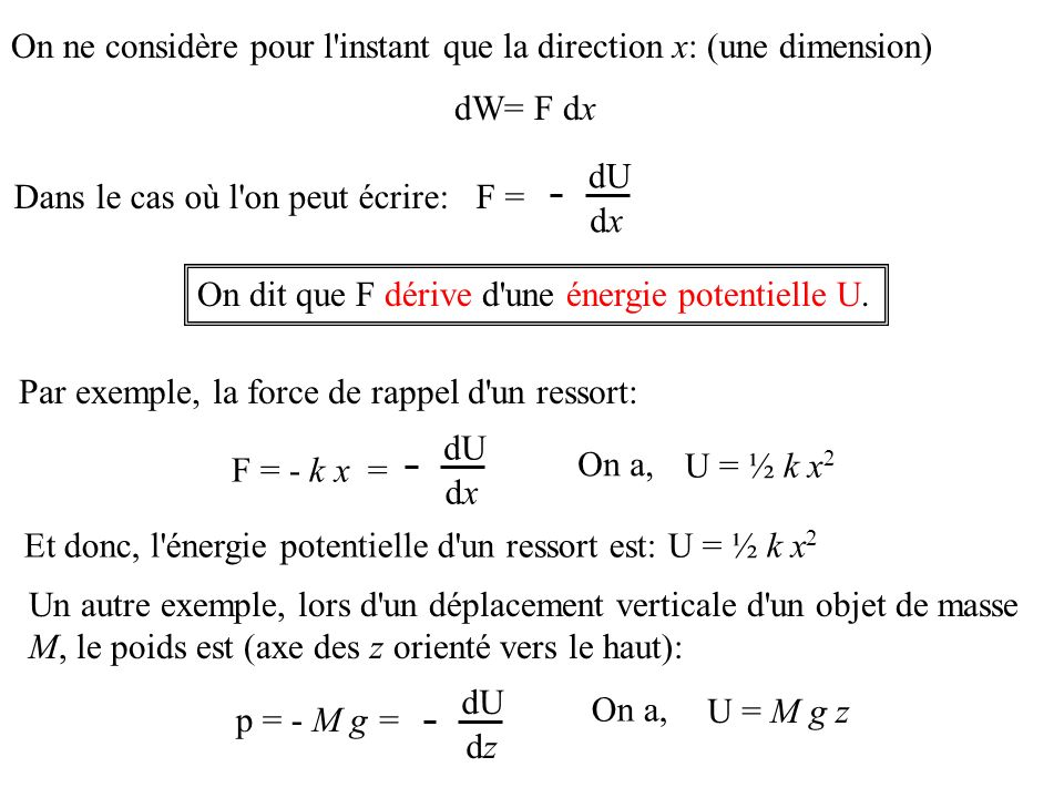 On ne considère pour l instant que la direction x: (une dimension)